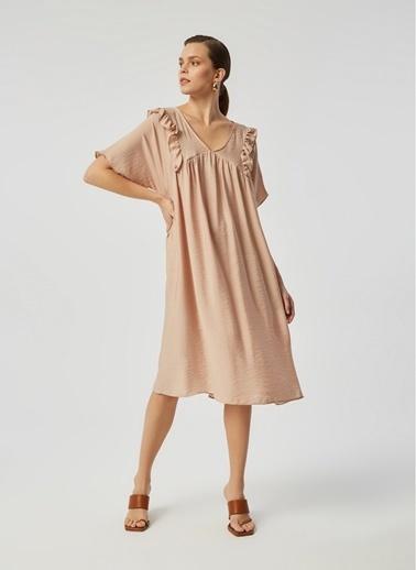 Monamoda A Form Robası Büzgülü Krinkıl Keten Relaxe Fit Elbise Bej